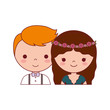 wedding couple icon over white background vector illustration