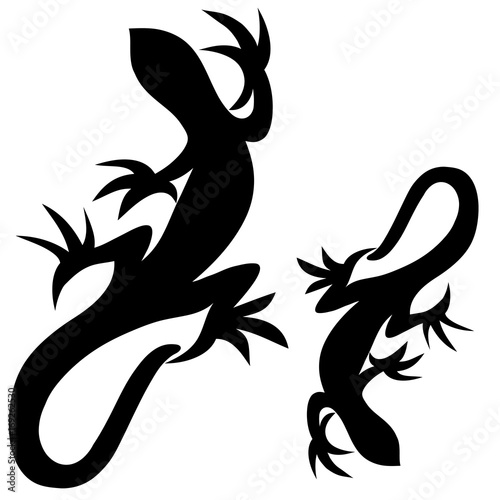 93458da00 Lizards black silhouette reptiles with long tails isolated on white  background, vector illustration suitable for tattoo, logo, mascot design,  scrapbooking, ...