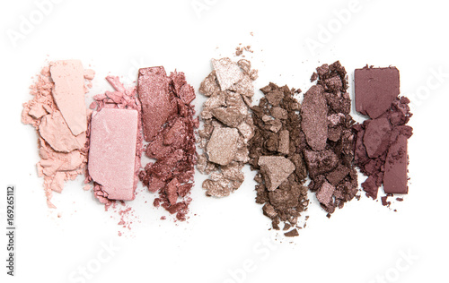 Fotografie, Obraz  A smashed, neutral toned eyeshadow make up palette isolated on a white backgroun
