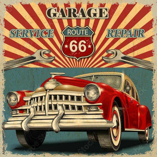 Photo  Vintage garage retro poster