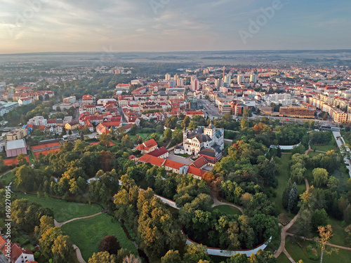 Centre of city of Pardubice and Castle Pardubice from airplane Wallpaper Mural