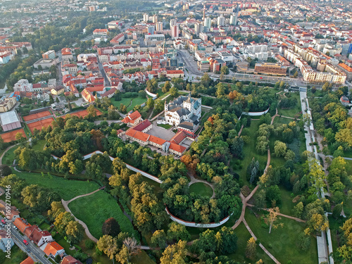 Centre of city of Pardubice and Castle Pardubice from airplane Canvas Print