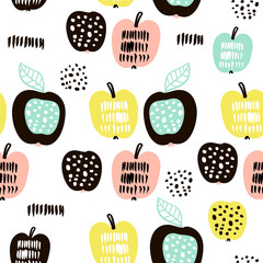 FototapetaSeamless pattern with creative modern fruits. Hand drawn trendy background. Great for fabric and textile. Vector Illustration