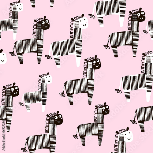 Creative seamless pattern with zebra Lerretsbilde
