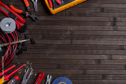 Tools For A Home Electrician Soldering Wires And Repairing On A Dark Background Buy This Stock Photo And Explore Similar Images At Adobe Stock Adobe Stock