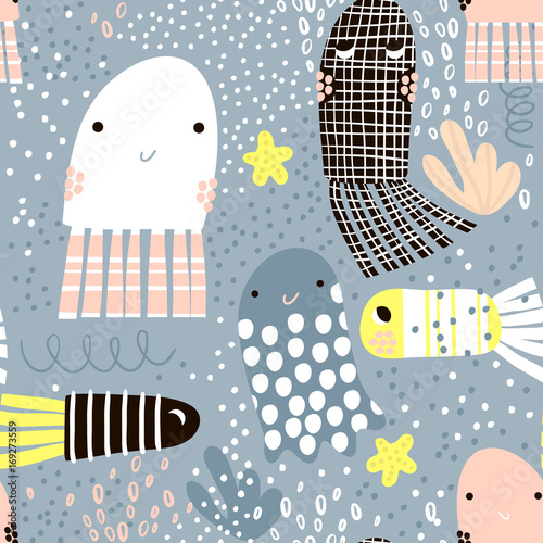 Cotton fabric Seamless pattern with sea animal jelly fish, fish. Undersea Childish texture for fabric, textile. Vector background