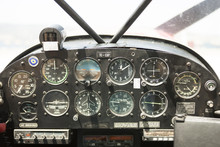 Inside View In Cockpit Of Small Airplane