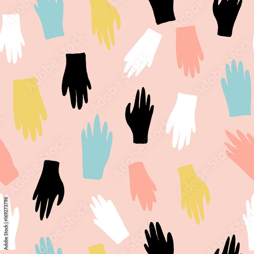 Foto op Aluminium Retro sign Creative seamless pattern with gloves. Ink drawn texture with hands. Vector illustration