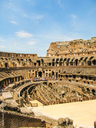 Photo  View of the inside of the Colosseum - crowd of unidentified tourists everywhere
