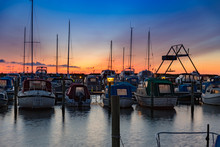 Small Marina Sfter Sunset With...