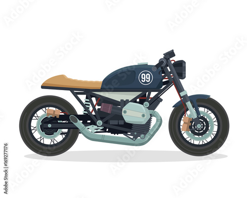Vintage Classic Cafe Racer Motorcycle Illustration Wallpaper Mural
