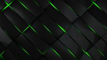 Grey And Green Rectangles Modern Background 3d Render Illustration