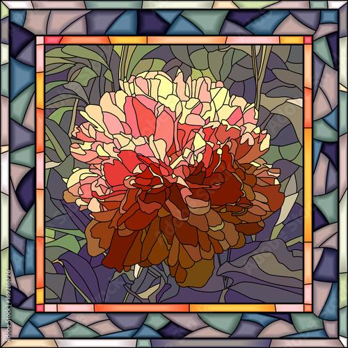 Fototapeta Wektorowa ilustracja kwiat peonia.