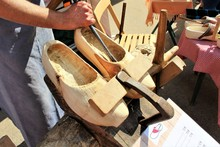 An Image Of Making Wooden Clogs