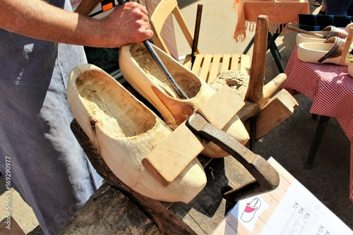 Photo  An image of making wooden clogs