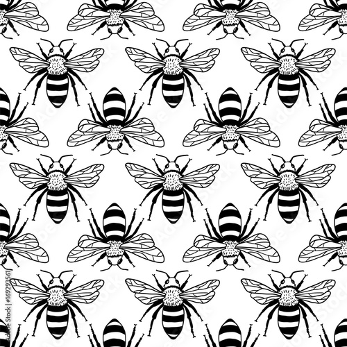 Cotton fabric Vector seamless pattern with bees. Black and yellow texture