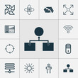 Machine Icons Set. Collection Of Hive Pattern, Controlling Board, Wireless Communications And Other Elements. Also Includes Symbols Such As Hive, Shine, Cpu.