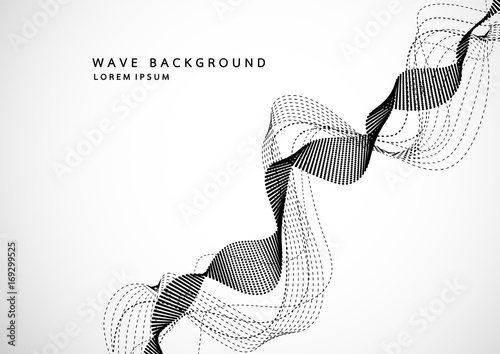 Photo  Abstract background with dynamic particle sound waves
