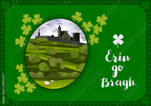 Papiers peints Vert Vector greeting card. Irish landscape with Cashel Castle, clover leaves and lettering quote.