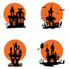 Set Of Ghost Houses. Halloween...