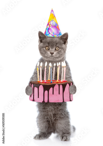 Funny Kitten In Party Hat Holding Birthday Cake With Many Burning Candles Isolated On White Background