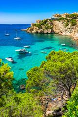 Majorca Spain Mediterranean Sea Coast bay with boats at Santa Ponsa