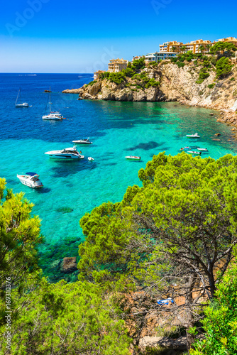 Motiv-Rollo Basic - Majorca Spain Mediterranean Sea Coast bay with boats at Santa Ponsa (von vulcanus)