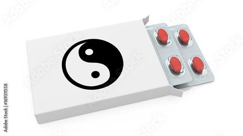 Plakat biały pigułka pudełko z yin Yang symbolu 3d renderingiem