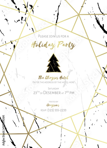 invitation to a holiday party  white and black marble