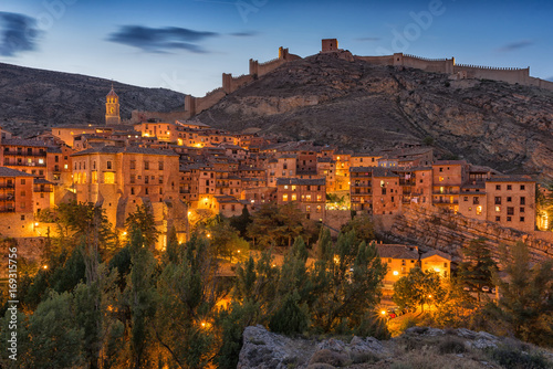 Views over Albarracin with lights. Aragon, Spain