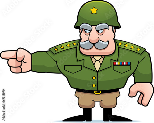 Leinwand Poster Cartoon Military General Pointing