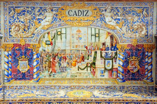 Photo Constitución de Cádiz, Constitución de 1812, Plaza de España en Sevilla, España