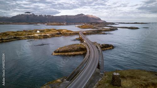 Fotografia  Aerial panorama of Atlantic Road in Norway