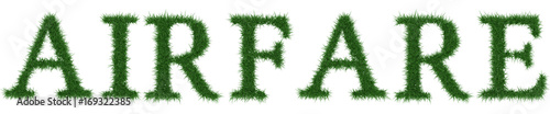 Airfare - 3D rendering fresh Grass letters isolated on whhite background Wallpaper Mural
