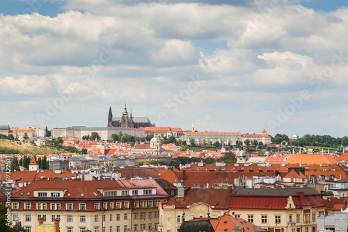 Prague (Hradcany) Castle and old buildings in Prague, Czech Republic, viewed from the Vysehrad fort Poster