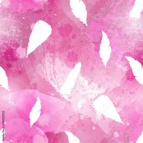 Abstract watercolor seamless pattern with birds feathers. Acrylic or watercolour brush strokes, blots and drops. Perfect for textile, flyers, business cards background