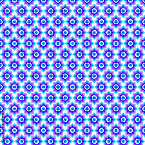 Spoed Foto op Canvas Psychedelic Seamless pattern, blue and violet, white background