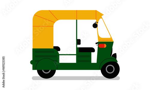 Fotografia, Obraz Indian auto rickshaw. Vector Tuk Tuk. Delhi Auto