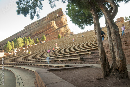 Red Rocks amp theater with people exercising Wallpaper Mural