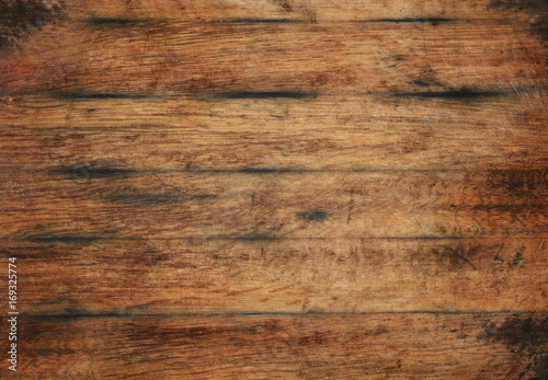 Poster Bois Old aged brown wooden planks background texture