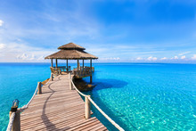 Beautiful Summer Tropical Beach Landscape, Wooden Pier, Turquoise Sea Water