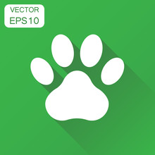 Paw Print Icon. Business Concept Dog, Cat, Bear Paw Symbol Pictogram. Vector Illustration On Green Background With Long Shadow.