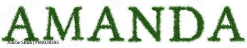 Photo Amanda - 3D rendering fresh Grass letters isolated on whhite background