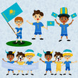 Set of boys with national flags of Kazakhstan. Blanks for the day of the flag, independence, nation day and other public holidays. The guys in sports form with the attributes of the football team
