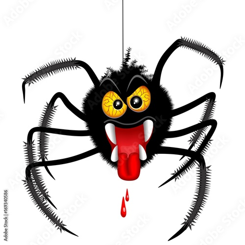Deurstickers Draw Halloween Spider Spooky Cartoon Character