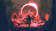 Wizard Of Crows Casting A Spell In The Mysterious Field With Solar Eclipse, Digital Art Style, Illustration Painting