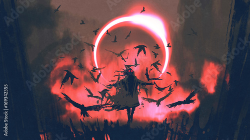 wizard of crows casting a spell in the mysterious field with solar eclipse, digi Wallpaper Mural