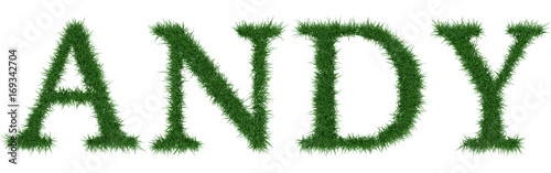 Andy - 3D rendering fresh Grass letters isolated on whhite background Wallpaper Mural