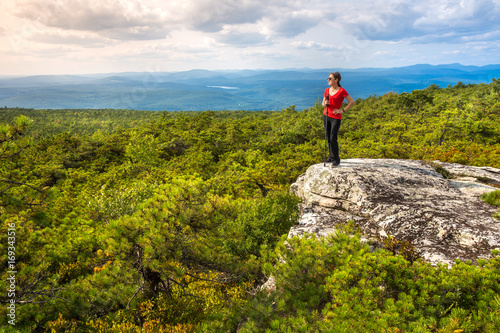 Photo  Women enjoys the nature at High Point, on top of Shawangunk Ridge, in Upstate New York