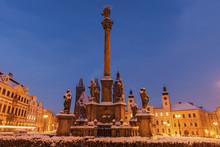 Plague Column On Main Square In Hradec Kralove